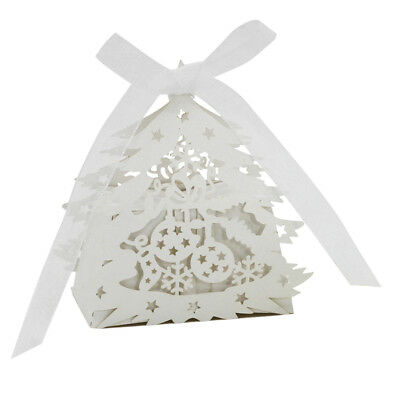 20x Christmas Tree Gift Candy Paper Boxes Wedding Party Favor Decor White