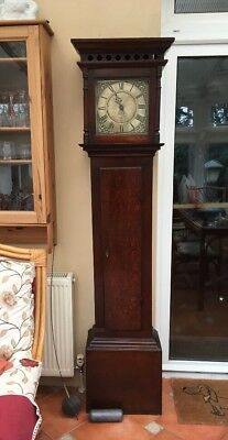 Antique Longcase Grandfather Clock Brown Of Worcester C 1740 30 Hour