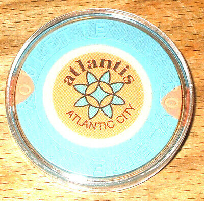 Atlantis CASINO ROULETTE CHIP - 1984 - ATLANTIC CITY, New Jersey - Blue -B
