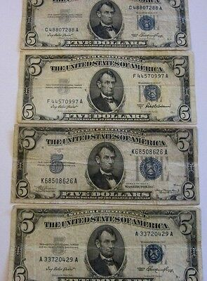 Group of four  $5 Silver Certificates  circulated, 1934 to 1953