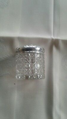 antique silver and cut glass perfume jar