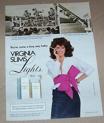 1983 print ad -Virginia Slims cigarette Marianne Kase showboat Sexy Girl smoking