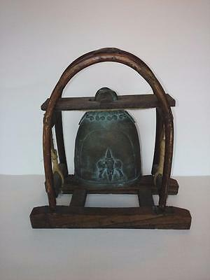 7278-----antique tribal bell with hand crafted yoke and frame -- animal hide too