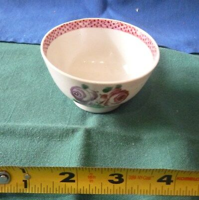 ANTIQUE CHINESE EXPORT ~ HANDLELESS no handles CUP ~ ROSES / Leaves ~ ee pics  ~