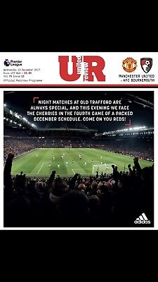 Manchester United V Bournemouth Official Matchday Programme 13/12/17