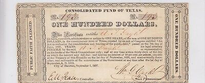 Consolidated Fund of Texas $100 Certificate Note Houston, TX Cut Cancelled 193