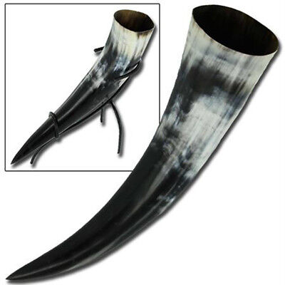 Handcrafted Medieval Viking Norwegian Ceremonial Drinking Bovine Horn & Stand