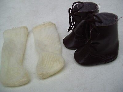 Alte Puppenkleidung Schuhe Vintage Brown Boots Shoes Socks 40 cm Doll 5 1/2 cm
