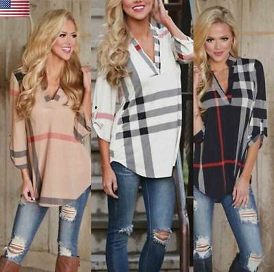 Womens Blouse Long Sleeve Shirt T-shirt Plaid Shirt Tunic Plaid Shirt V-Neck Top