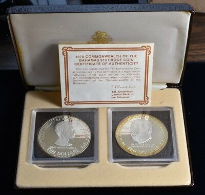1973 Bahamas $10 5 Anniversary Of Independence - 2 Coin Silver Proof Set