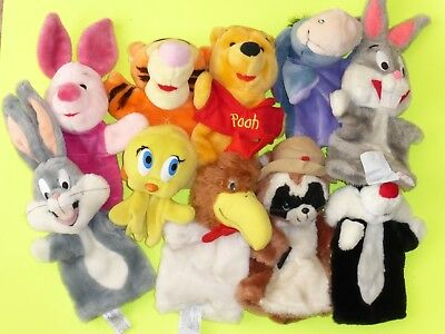 Lot of 10 vintage Warner Bros./Disney Hand Puppets Plush Bugs, Foghorn, Pooh P1