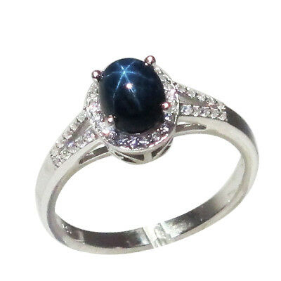 Unique 1.5 Ct Genuine African Star Sapphire 925 Sterling Silver Ring Size 5-10