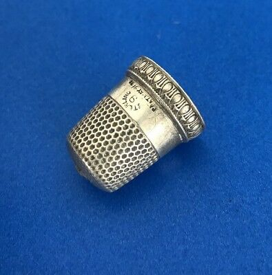 Sterling Silver Thimble Priscilla Marked 9