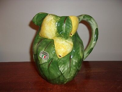 Ceramics of Brassano Hand Made in Italy Lemon & Leaves Pitcher