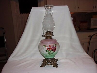 Antique Glass Painted Metal Footed Oil Lamp 271