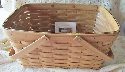 2004 Longaberger Medium Market Basket With Plastic Protector & Brochure