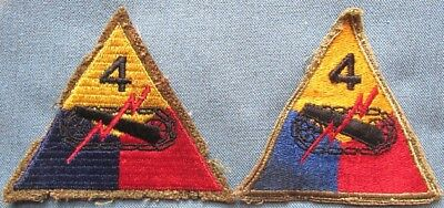 "WWII US 4th AD shoulder patches: embroidered on wool and ""greenback"""