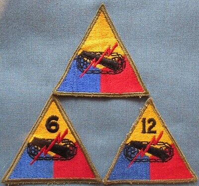 "Lot of 3 US Army Armored shoulder patches; all ""greenback"""