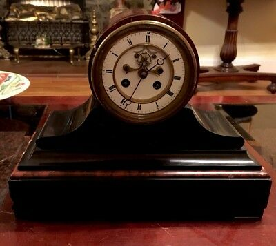 antique french mantel Clock Exposed Escapement
