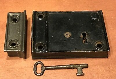 Antique Cast Iron Door Rim Lock With Key Late 1800's