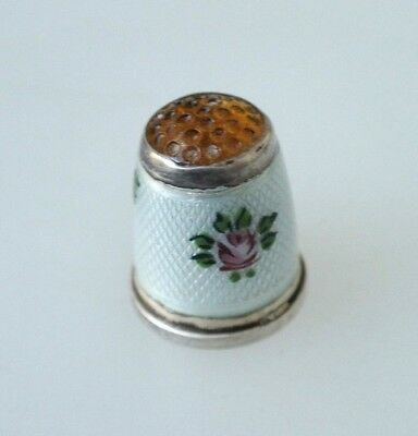 Vintage European Sterling Silver 935 Enamel Roses Glass Dimpled Top Thimble #6
