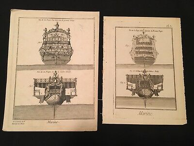 Lot Of Two Antique Ship Engravings 1770