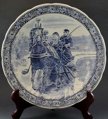 Large Vintage Boch Delft Pottery Charger Couple on Horse Drawn Sleigh NR