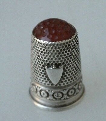 Vintage Fine Silver Rosettes Shield Glass Dimpled Top Thimble No Mono
