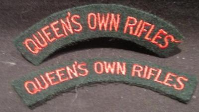 Queen's Own Rifles Canada WWII Era Pair of Cloth Embroidered Shoulder Flashes