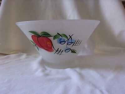 Satin Frosted Depression Glass Hand Painted Red Apple Blue Berry Salad Bowl