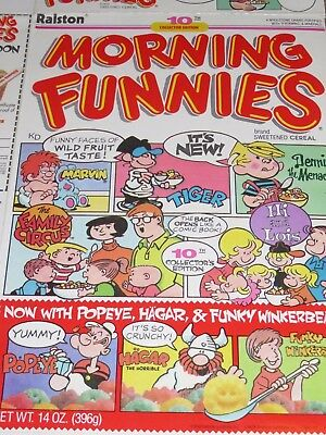 1988 Ralston's MORNING FUNNIES Cereal Box 10th Edition Cartoons Front & Back