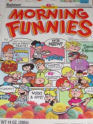 1988 Ralston's MORNING FUNNIES Cereal Box 6th Edition Cartoons Front & Back