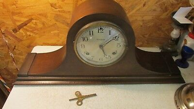 Antique Waterbury Humpback Mantle Clock Key Wind