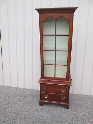00001 STATTON Oldtowne Solid Cherry Curio Cabinet with Bookcase Top