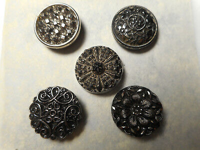 """Lot 5 Silver Luster Black Glass Antique Buttons 3/4"""" RS"""