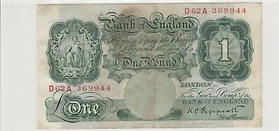 1948  £1 One Pound The  Bank Of England K O Peppiatt Note  Circulated 944