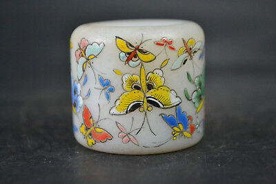 Collectible Chinese Handicraft Vintage Old Glass Painting Full Butterfly Ring