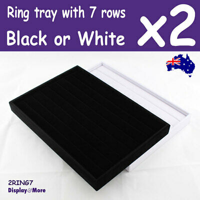 Ring Tray JEWELLERY Display | 2pcs | Black or White 7 Rows | AUSSIE Seller