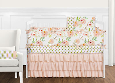 Sweet Jojo Shabby Chic Peach Green Watercolor Floral Girl Baby Bedding Crib Set