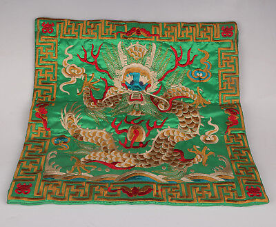Chinese National Embroidery Royal Dragon Statue Ornament Pillow Case Home