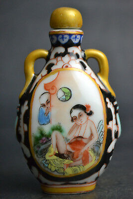 Collectible Handicraft Old Porcelain Painting Sexy Culture Decor Snuff Bottle