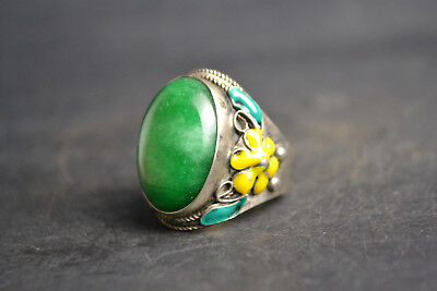 Old Collectible Cloisonne Carve Flower Inlay Natural Green Jade Adjustable Ring