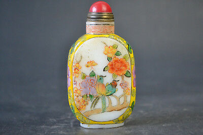 China Collectible Decor Old Glass Coloured Painting Flower Bird Snuff Bottle