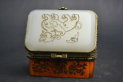 China Vintage Handwork old Carved white jade dragon painting flower ring Box