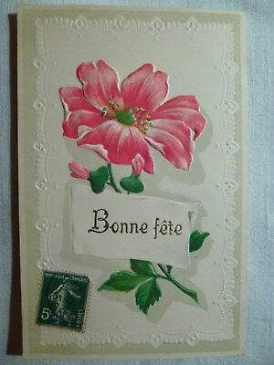 cpa gaufrée fleur postcard antique embossed flower cartolina fiore carte ancien