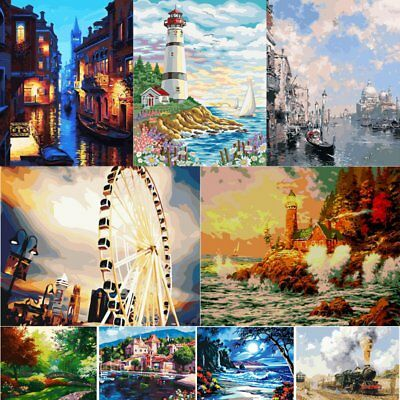 Linen Canvas DIY Digital Oil Painting Kit Paint by Numbers No Frame Home Decor