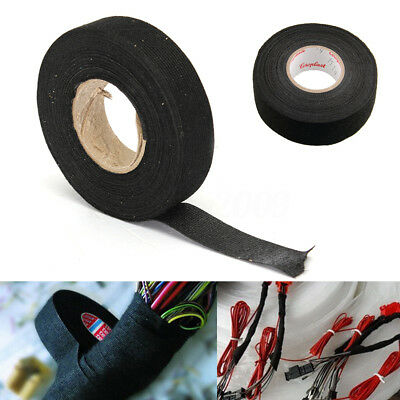 Car Auto 19MM x 15m Black Adhesive Cloth Fabric Cable Tape Looms Wiring Harness