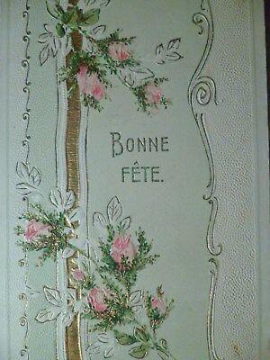cpa gaufrée fleur rose postcard embossed antique flower cartolina fiore rosa ak