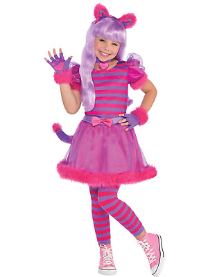 Girls 4 Piece Cheshire Cat World Book Day Week Fancy Dress Costume Outfit