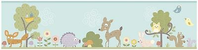 ROOM MATES WOODLAND ANIMALS WALLPAPER BORDER 12.8 cm x 4.57m FREE P+P